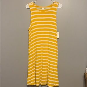 Yellow and white striped tank dress